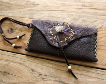 Deerskin Leather Smartphone Clutch Wristlet Pouch with Raw Amethyst Crystal Toggle
