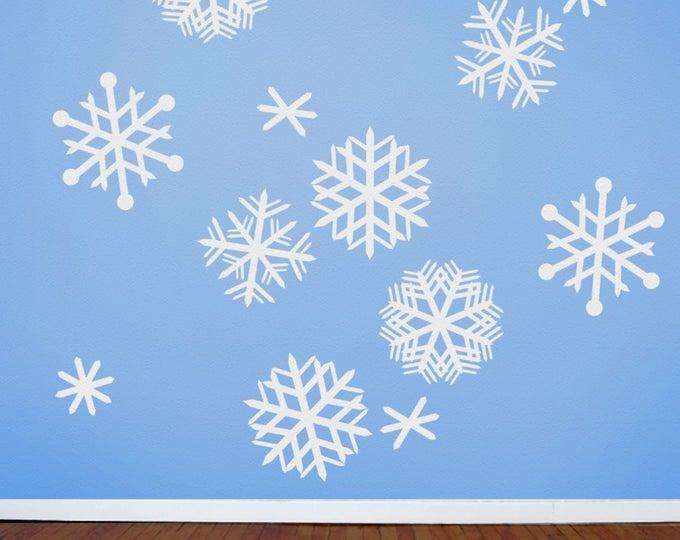 snowflakes wall decals, mid century snowflakes, vintage style snowflakes, FREE SHIPPING