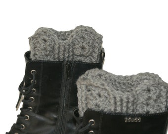 Gray Boot Warmer, XL Boot Topper, Plus Size Boot Socks, Crochet Boot Toppers, Boot Cuff Gray, Boots Women, Boot Cuffs, Chunky Boot Sock