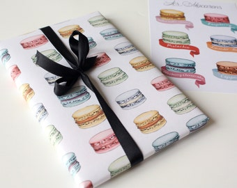 Wrapping paper French Macarons Instant Download - Blueberry, Raspberry, Cappuccino, Caramel, Lavender, Pistachio