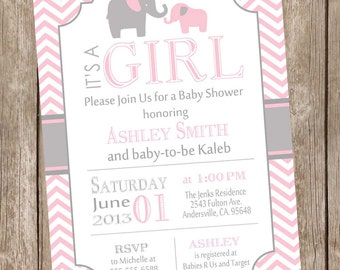 Pink and Gray Girl Elephant baby shower invitation, pink, grey, elephant, chevron, printable invitation