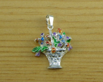Basket of Flowers - Pendant in silver 925