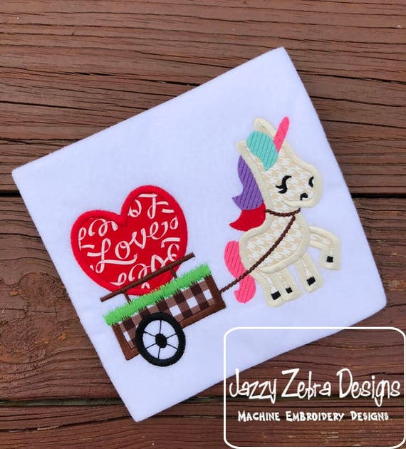 Unicorn pulling Cart with heart appliqué embroidery design - Unicorn appliqué design - Valentines day appliqué design -heart appliqué design