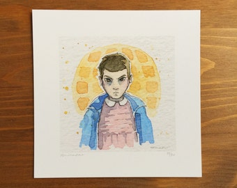 Eleven Stranger Things, Watercolor Prints, 5x5 by Kendra Minadeo Limited Edition