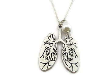 Human Lungs Necklace Anatomical Necklace Biology Necklace Science Jewelry Birthstone Glass Pearl Necklace Lungs Jewelry Anatomy Jewelry