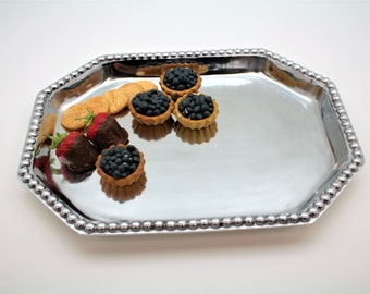 Beaded Octagon  Shape Pewter Tray