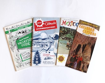 Vintage 1950's Travel Brochure Lot! Mexico, Colorado, Carlsbad Caverns, Mount Rushmore! Mid Century Travel!
