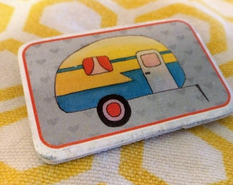 Retro Yellow Camper Wooden Pin
