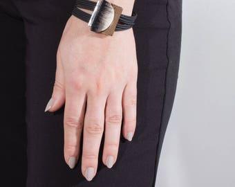 Stacked geometric pewter bracelet - Kendi - Handmade in Canada
