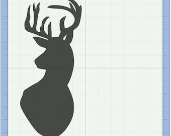 Buck deer head Cutting file. SVG & Scut3 file formats included. Sizzix / Cricut / eCal / Sure-Cuts-a-Lot