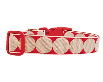 "Polka Dot Dog Collar 1"" Red & White Polka Dot Red Dog Collar"