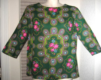 60s Blouse Green and Pink Floral Print Vintage