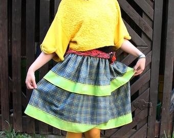 Green checkered skirt with ruffles