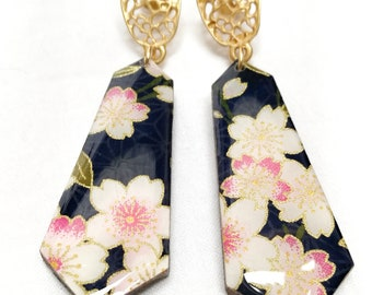 Japanese wood and chiyogami paper earrings - CHERRY BLOSSOM