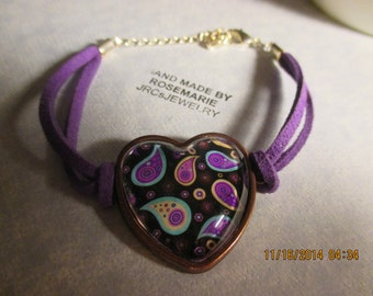 Colorful Paisley Heart Bracelet
