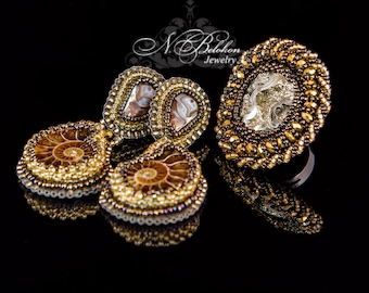 Earrings and a ring of ammonite fossil Russian pyrite and pearl. Beadwork. Embroidery bead. Jewelry Set