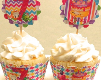 Shopkins Inspired Personalized Cupcake Toppers and Wrappers