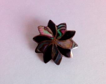 Vintage Mexican Silver Starburst Brooch