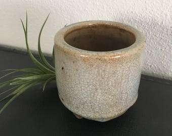Small Handcrafted Pottery Planter Glazed in Lt.Blue / Grey Glaze Small Plant