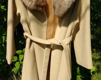 Vintage Wool Coat with Real Fur Collar