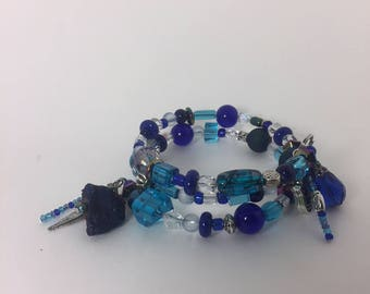 Beaded Memory Wire Bracelet - Blues