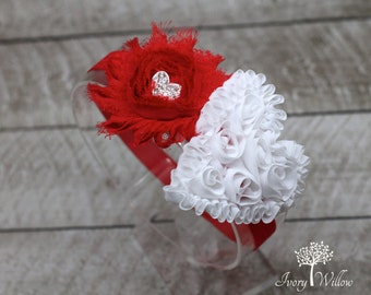 Valentines Day Headband - Red and White Heart Headband - Valentines Heart Headband - Baby Headband - Girl Headband - Adult Headband