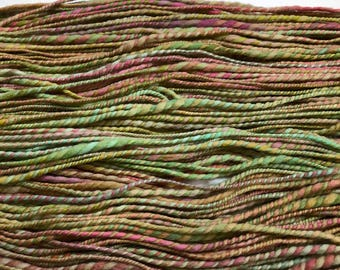 Pink Hydrangeas - handspun yarn - 200 yards - hand dyed merino wool - DK weight - 2 ply - earth tones - green and pink yarn - hand dyed yarn