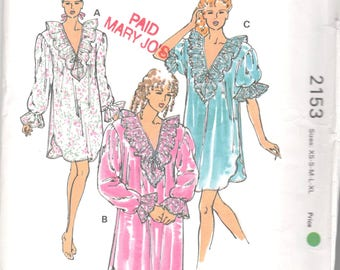 Kwik Sew 2153 Misses Victorian Style Nightgown Pattern V Neck Puff Sleeves Womens Vintage Sewing Pattern SizeXs S M L XL Bust 31 - 45 UNCUT
