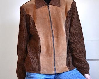 Vintage 70s Brown Suede Knit Sweater Jacket
