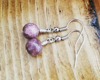 Rhodonite Bead Earrings