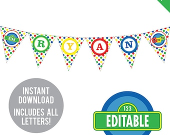INSTANT DOWNLOAD Sesame Street Party - DIY printable pennant banner - Includes all letters, plus ages 1-9