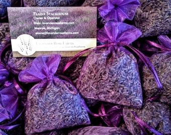 "1, 2 or 4 Lavender Sachets 3 x 4"" . Wedding favors. Bridal shower, Baby shower. Organza lavender sachets"