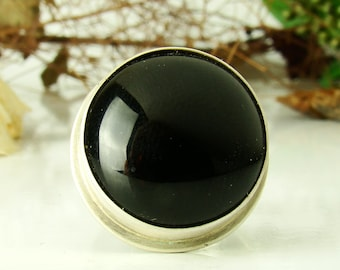 Black Onyx Agate Ring, Sterling Silver 925,Oxidised,Handmade,Coctail Ring,Statement Rings