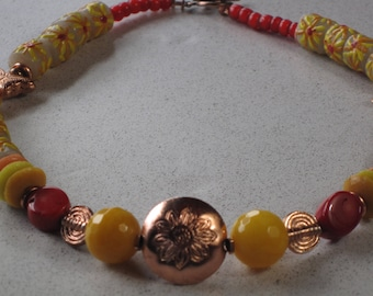 "NEW Copper Puff Flower Pendant & African Summer Sunshine Krobo Necklace 18-1/4"" Long, Red Coral, Yellow Jade, African Trade Beads"