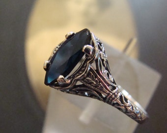 Lovely Sterling Marquis Sapphire Filigree Ring Size 5.75