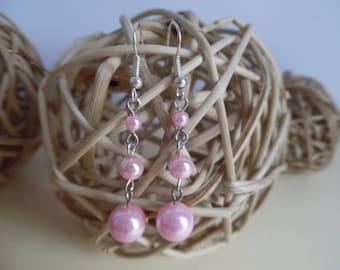 Earrings pink pearls