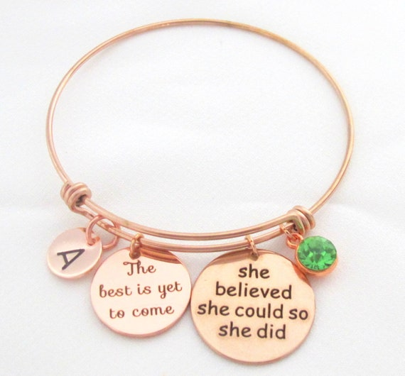 Compass Grad Bracelet,2018 Graduation Bracelet,Personalized Graduation Bracelet,Rose Gold Graduation Bangle, She believed,Free Shipping USA