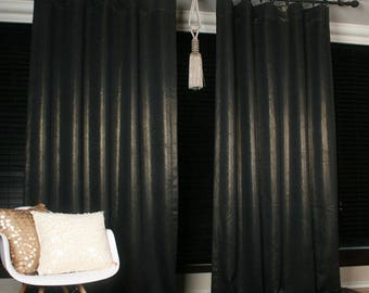 Gold Glitter Accents Black Blackout Curtain