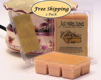 Pumpkin Pie Scented Wax Melts - 2 Pack with FREE SHIPPING - Scented Soy Wax Cubes - Compare to Scentsy® Bars