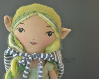 "Wila ~ 14"" Elf doll - handmade rag doll - heirloom - fabric - cloth"