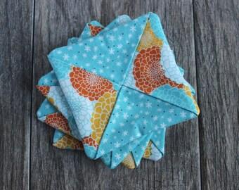 Fabric Drink Coasters | Set of 4 - Blue, Orange & Yellow Flower Pattern | Criss Cross Design