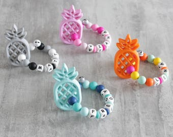 Rattle teething pineapple, silicone beads, personalized with baby's name