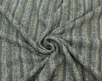 Green and Charcoal Gray Stripe Knit Fabric with Subtle Golden Yarns - 1 Yard Style 6143