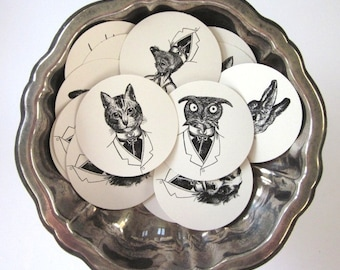 Animal Tags Round Paper Gift Tags Set of 10
