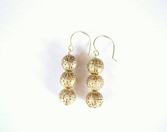 Silver Vintage Open Work Bead Drop Earrings