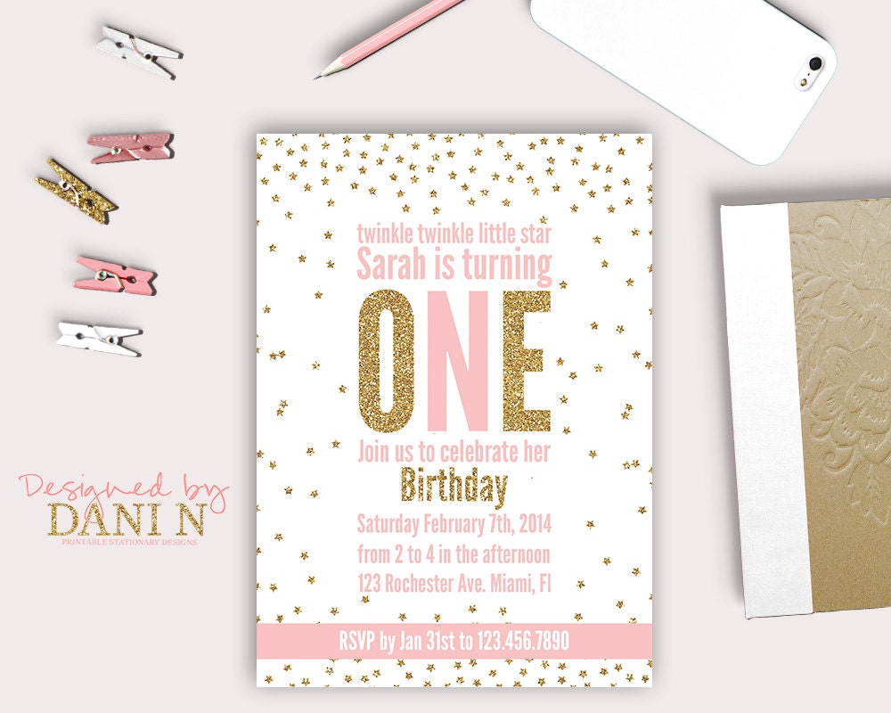 Twinkle twinkle birthday invitation glitter birthday invite