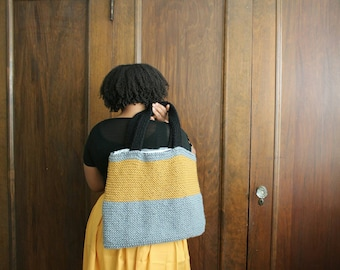 Gray and Yellow Color Block knit Tote Knit Shopper Bag Stripe Lined Tote Bag Knit Carry All Purse