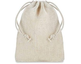 """Burlap Bags with Drawstring - 4 x 6"""", Ivory for washing with a soap nuts, rustic favor bags are popular at outdoor weddings..."""