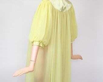 Lemon Yellow Chiffon Nightgown 60s Babydoll Sheer Nightie 1960s Peignoir Dress Robe Dressing Gown Lingerie Boudoir Cloud Negligee Sleepwear