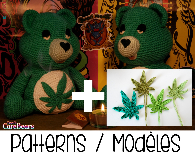 PDF pattern : Don\'t Care Bear amigurumi plush marijuana